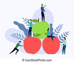 Flat red and green apple with human concepts, vector illustration