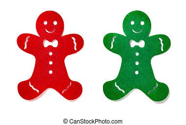 flat red and green gingerbread men on a white background