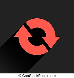 Flat red arrow icon refresh, reset, repeat sign
