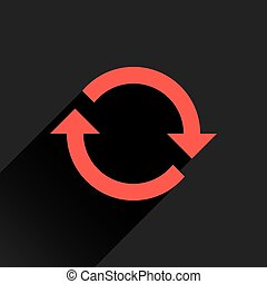 Flat red arrow icon reload, refresh, rotation sign