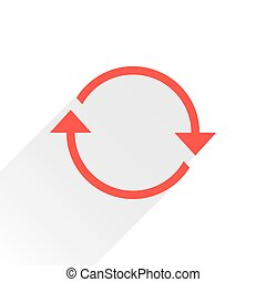 Flat red arrow icon reload sign on white