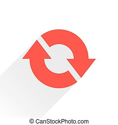 Flat red arrow icon reset, repeat sign on white