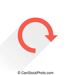 Flat red arrow icon reset sign on white