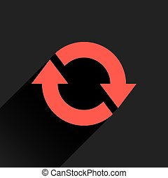 Flat red arrow icon rotation, reset, repeat sign
