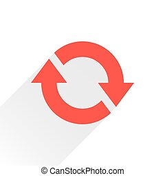 Flat red arrow icon rotation sign on white