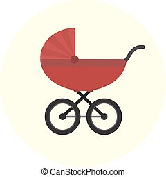 Flat red baby carriage icon. Unisex baby transport