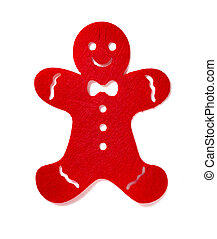 flat red gingerbread man on a white background