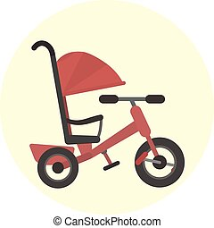 Flat red kids tricycle with push handle icon, vector color...
