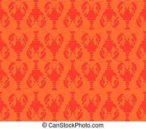 flat red lobster seamless pattern