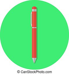 Flat red pen icon