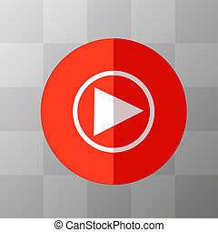Flat Red Play Icon in Circle Frame for Web, App, Internet, Smartphone Interface. Vector Button on Transparent Background