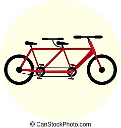 Flat red tandem bike icon, bicycle for couple