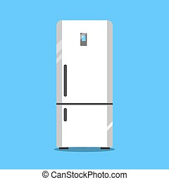 Flat refrigerator icon. Vector illustration isolated on a blue background.