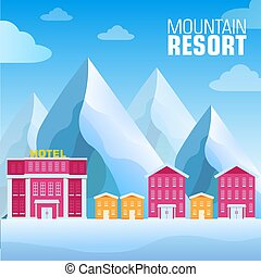 flat resort mountain concept backgrounds. Vector illustration template design
