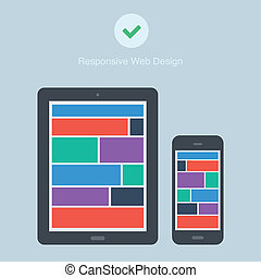flat responsive design phone and tablet