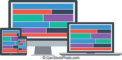 flat responsive web design device isolated background