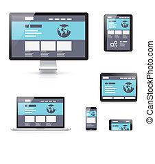 Flat responsive web development vec