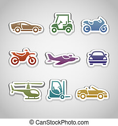 flat retro color stickers - set eleven