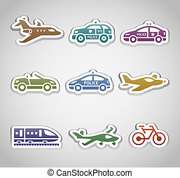 flat retro color stickers - Set one