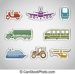 flat retro color stickers - set six