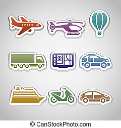 flat retro color stickers - set ten