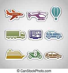 flat retro color stickers - set ten