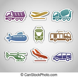 flat retro color stickers - set thirteen