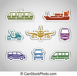 flat retro color stickers - set three