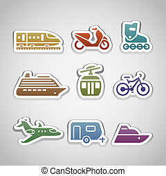 flat retro color stickers - set twelve