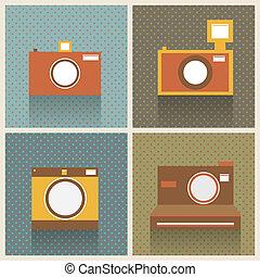 Flat Retro Photo Cameras