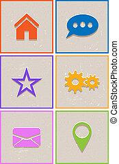 Flat retro web icons