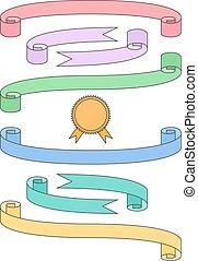 Flat ribbon set with badge
