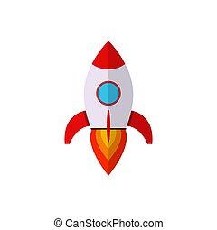 Flat rocket icon .
