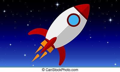 Flat rocket in space