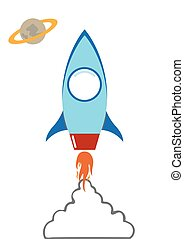 flat rocket in space with smoke cloud vector cartoon illustation