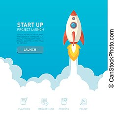 Flat rocket ship illustration