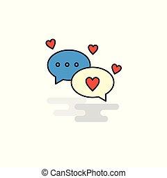 Flat Romantic chat Icon. Vector