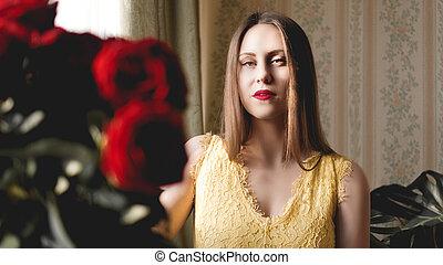 flat, romantische, bouquetten, zoet, rozen, vrouw, beige, interieur, rood, aardig