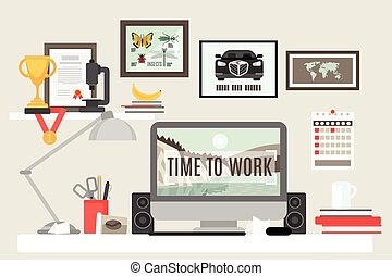 Workspace in room with desk computer and work items flat vector illustration