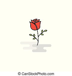 Flat Rose Icon. Vector