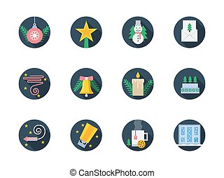 Flat round colored vector icons for winter