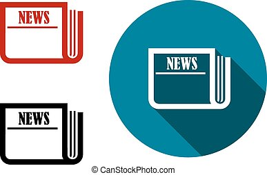 Flat round news icon with a folded newspaper on a blue...