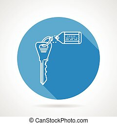 Flat round vector icon for key with
