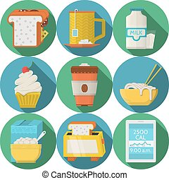 Flat round vector icons for daily products