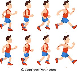 Flat running man. Athletic boy run animation frames sequence. Runner male in tracksuit, legs animations cartoon vector illustration