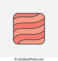 Flat salmon or trout fillet square concept icon or sign