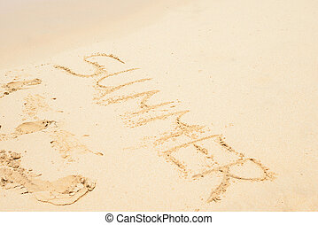 Flat sand and summer letters