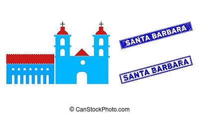 Flat Santa Barbara Mission Icon and Scratched Rectangle Santa Barbara Stamp Seals