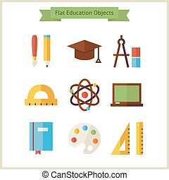 Flat School and Education Objects Set