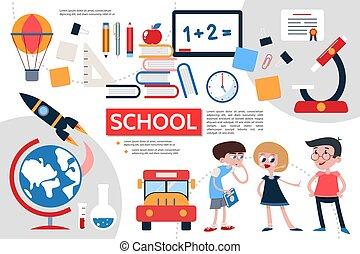 Flat School Infographic Concept